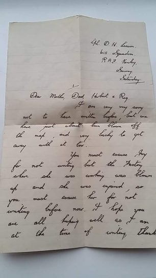 Cpl. Leason's undated letter home. Page 1.  | Tony Leason