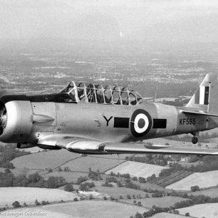 NORTH AMERICAN AT-16 HARVARD IIB, KF565 / 14A-2265, ROYAL AIR FORCE. Photograph by Sgt. Jim Greenwood, 1956 | Dave Welch