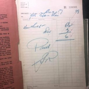 N.A.A.F.I. Grocery Store or Shop Invoice Book, 1939. Inside cover.  | Jason Hopkins