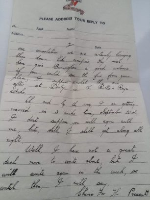 Cpl. Leason's letter home, 1st September. Page 2.  | Tony Leason