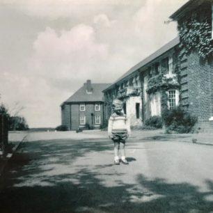 John Pitt's brother standing outside the Officers' Mess at RAF Kenley | John Pitt