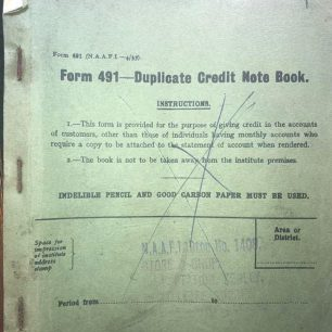 N.A.A.F.I. Duplicate Credit Note Book - 1936. Cover.  | Jason Hopkins