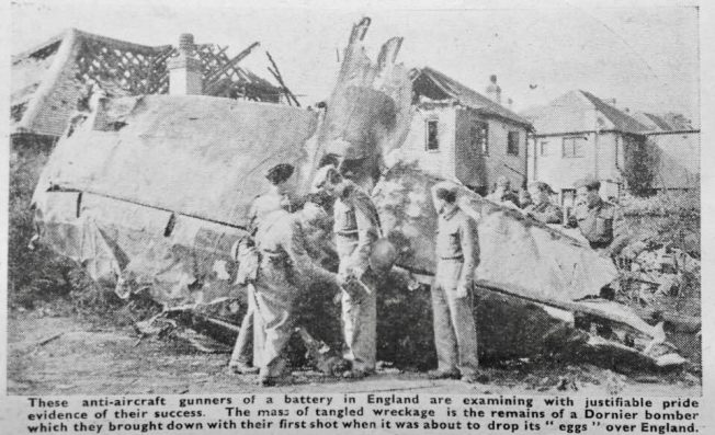 The wreckage of the Heinkel He 111H-2, in the garden of 21 Manor Rd, Caterham, mistakenly identified as a Dornier in