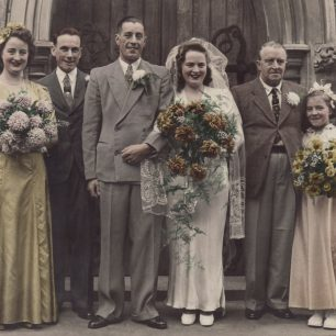 Alfred Spencer, second left, at a family wedding in 1945.  | Douglas Spencer