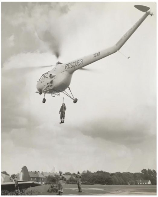 A Westland Dragonfly rescue helicopter at Kenley - the Officers' Mess can be seen in the background. | Jane Collman