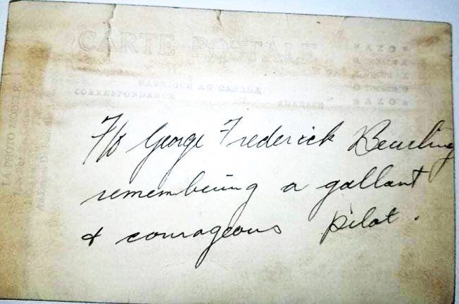 This note from George Beurling belongs to the family of F/Sgt Douglas Stewart 'Curly' Hill, who lost his life while serving at Kenley on 29/11/1942.  | Gord Hill