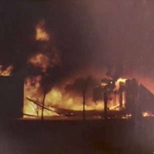 The last of Kenley's General Service sheds burning on 23rd October, 1978. Photo by Alex Watson, OC of 615 VGS, a professional photographer for Sevenoaks Chronicle. | Contributed by Keith Chandler