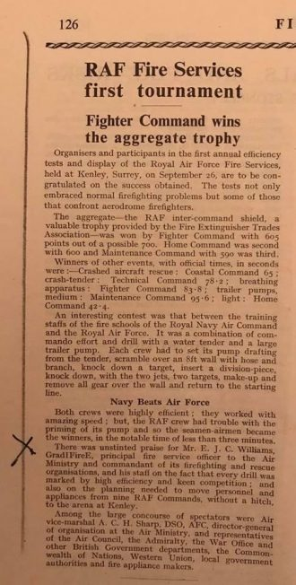 A cutting from 'Fire' magazine, November, 1952, about a fire-fighting competition at Kenley on 26/9/1952.  | Jane Collman
