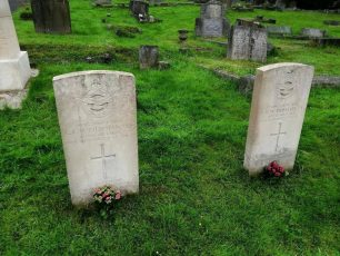 The graves of W/Cdr Chapman and F/Lt. Priestly in Caterham and Warlingham Burial Ground.  | Julie Starmer