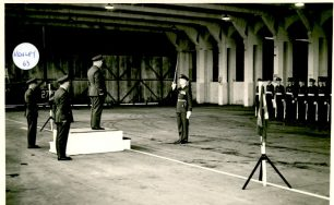 Cpl. Patrick Honey, 3rd from left in the Guard of Honour for inspection by the Air Officer Commanding in Chief, at Kenley in 1963.  | Patrick Honey.