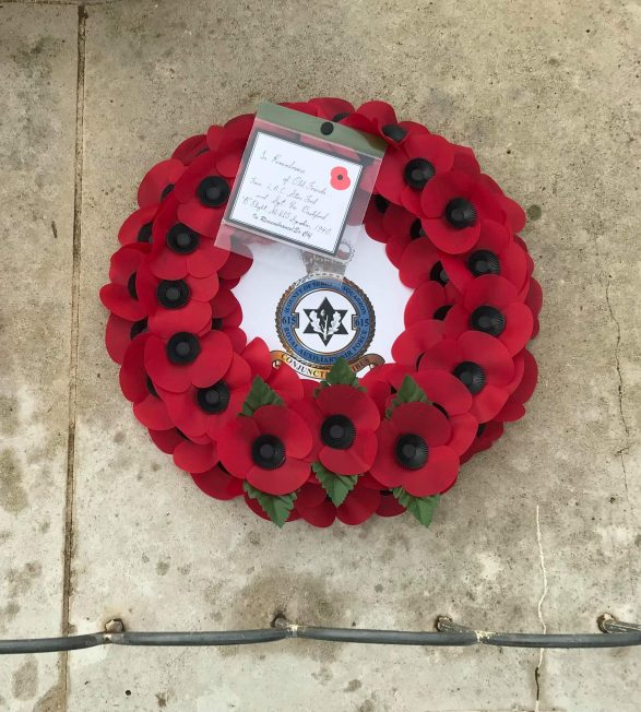 A wreath laid on behalf of LAC Stan Ford and Sgt. Vic Bashford in memory of their Squadron - No.615 (County of Surrey). | Linda Duffield