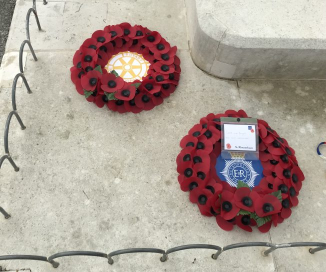 Wreaths from The Rotary Club and Metropolitan Police.  | Linda Duffield