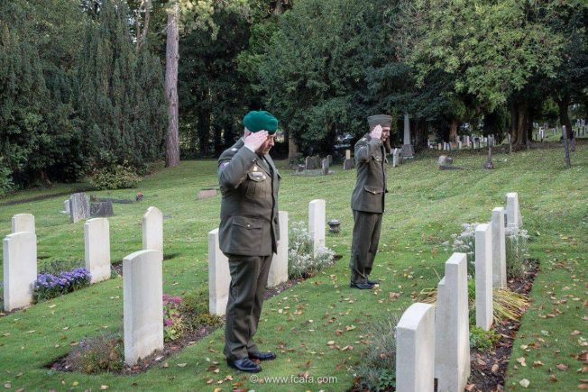 Colonel Jiří NIEDOBA and CWO Tomáš KAŠPAR at Airmens' Corner, St. Luke's, Whyteleafe, in front of the graves of Sgt. Nasswtter and P/O Běhal. | Tom Dolezal