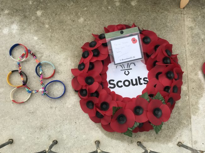An unknown tribute and wreath from The Scouts. | Linda Duffield