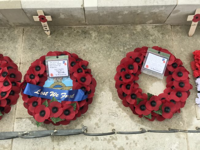 Wreaths from The RAF Kenley Tribute Committee and Doreen Patricia Allen, who passed away 26th June 2020.  | Linda Duffield