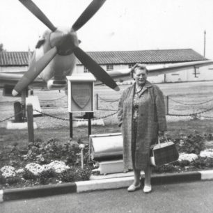 Cpl. Honey's Mother in front of RR263, Kenley's Spitfire gate guardian.  | Patrick Honey