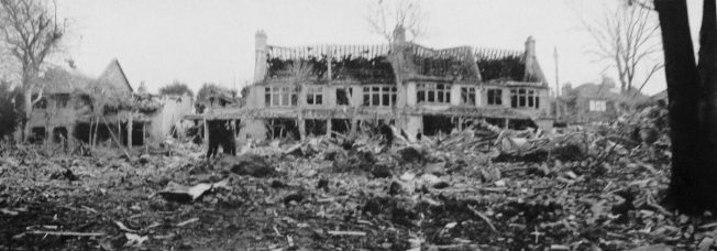The devastation caused by the first V2 rocket to land in the Croydon area. Sunny Bank, South Norwood - 20th October, 1944.