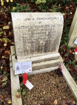 The grave of P/O Hayter in St. Luke's churchyard, Whyteleafe. Remembrance 2019.  | Linda Duffield