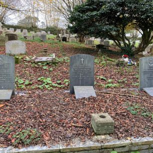 The family plot at St. Mewan's churchyard, with the grave of Captain Phillips DFC on the left, P/O Montague P. Richards on the right and Monty's parents in the middle, together with Reginald Phillips Dyer, Monty's half brother, who was washed overboard from his racing yacht, Flica, in heavy seas near Lyme Bay in 1949.  | John Keast