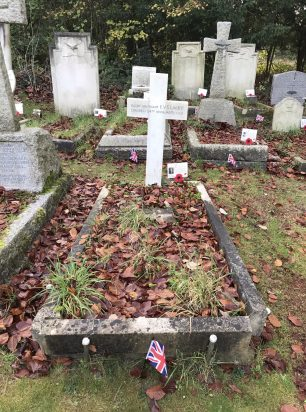 The grave of F/Lt. Lacey in St. Luke's churchyard, Whyteleafe. Remembrance 2020.  | Linda Duffield