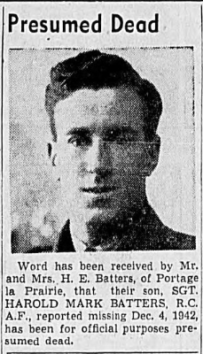 Newspaper clipping reporting the death of Sgt. Batters. | Winnipeg Evening Tribune, via Operation Picture Me.