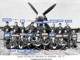 No.403 Squadron at Headcorn in September, 1943. All the pilots whose names are outlined in blue flew BS288 during it's time with the squadron. Others had already been killed in action before the photo was taken, like F/O John Charles Elliott and P/O Frank Cooper Mc.Williams, both lost on 20th June. | Pierre Lagace's 403 Squadron blog, see link.