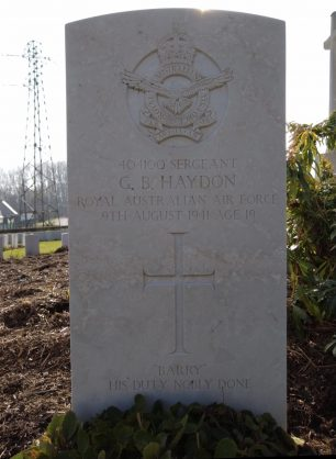 Sgt. Haydon's grave in Longuenesse (St. Omer) Souvenir Cemetery.  | Candat Anthony (findagrave).