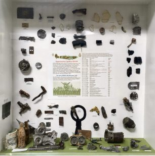 The display of items recovered from the crash site of Spitfire IX, BS288.  | Linda Duffield