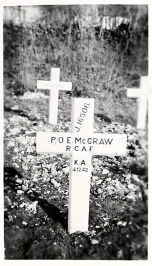 The temporary wooden grave marker at Pihen Les Guines cemetery.