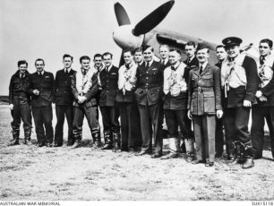 No. 452 Squadron RAAF at RAF Kirton-in-Lindsey, June 1941. Sgt. Gazzard far right. Left to right: Sgt. Paul St John Makin; F/O Keith Kipling Cox, possibly Archie Stuart; F/Lt. Brendan Eamonn Fergus