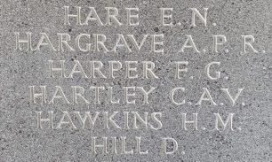 Sgt. Harper remembered on the Runnymede Memorial, panel 112.   Jane Collman
