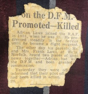 A newspaper clipping from the collection of F/Sgt. 'Pat' Glover, who served at Kenley during the summer of 1940, when Adrian Laws was with 64 Squadron.  | Carol Brown