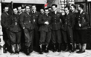 302 Squadron pilots. From left: Czerwinski, Bernas, Neyder, unknown, Gnys, unknown, Nastorowicz (marked with red arrow, Kaminski, Wedzik, Narucki, Lapka, Lysek, Markiewicz. This photo is usually captioned 'Northolt, October 1940,' but Nastorowicz didn't join the squadron until 6th January, so it is likely to have been taken after that date.  | Polish Squadrons Remembered