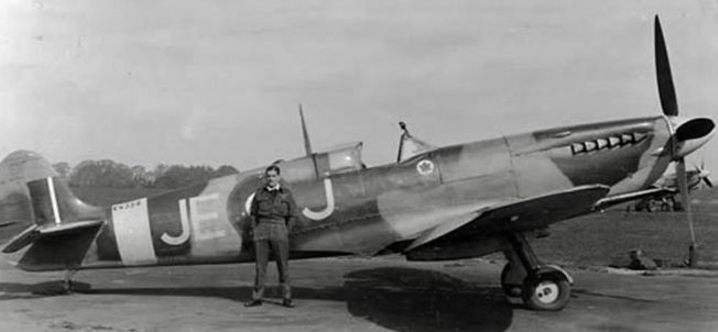 Johnson with Spitfire IX, EN398, at Kenley during 1943. Leading the Canadian Wing, 'Johnnie' scored 12 outright aerial victories flying this Spitfire, without having to break off from a sortie due to technical failure, or suffering a scratch due to enemy action.  | Dilip Sarkar MBE