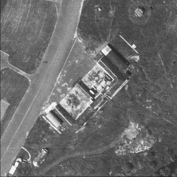 Blast Pen 1 from an Aerial Photograph of the Airfield from May 1947 | Historic England