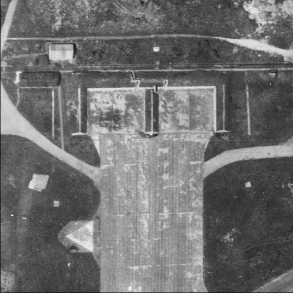 Blast Pen 6 from an Aerial Photograph of the Airfield from May 1947   Historic England
