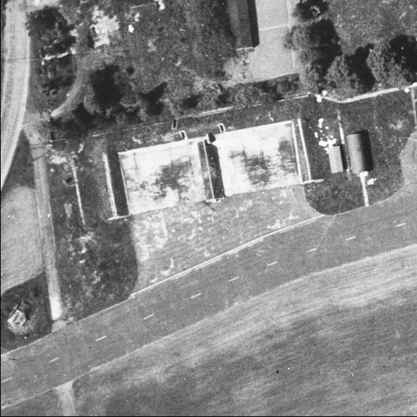 Blast Pen 8 from an Aerial Photograph of the Airfield from May 1947   Historic England