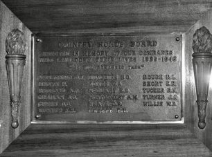 The Victoria Country Roads Board memorial plaque - F/O Willis remembered bottom right.
