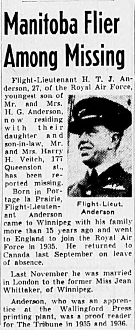 Winnipeg Evening Tribune's report on the loss of F/Lt. Anderson.  | Operation Picture Me / Canadian Virtual War Memorial