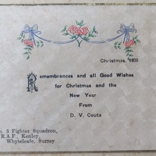 No.3 Squadron Christmas card, 1938. The Greeting from D. V. Couta, No.3 Fighter Squadron, Kenley.  | Gerry Burke