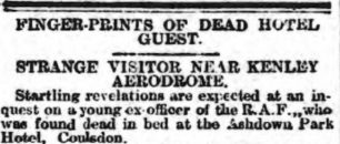 'The Echo' newspaper, 22/3/1920, linked Blenkiron's demise to RAF Kenley.