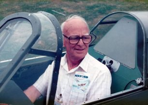 Frederick Gordon Powell sitting in a Hawker Hurricane of 'The Fighter Collection,' taken in 1992.  | ©️Stephen and Lynne Reglar