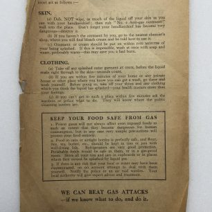 'What to do About Gas' Leaflet - 1941, (overleaf) | Robin Grainger