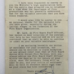 Letter to Mr. L. Ridley from Chief Warden, dated 10/11/1942. (Overleaf)   Robin Grainger
