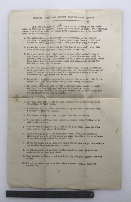 'Personal Protection Against High Explosive Bombs,' information sheet. Undated.  | Robin Grainger