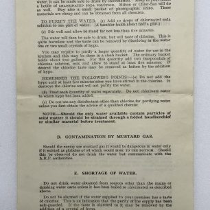 'Hints to Householders on Water Purification' Leaflet - May 1941 (Overleaf)  | Robin Grainger