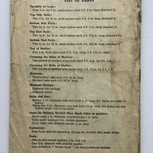 'How to put up your Morrison 'Table' Shelter.' Leaflet. Back cover.    Robin Grainger