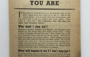 'Stay Where You Are' Leaflet - July 1940