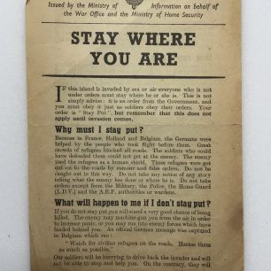 'Stay Where You Are' leaflet. (Front page) | Robin Grainger