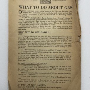 'What to do About Gas' Leaflet - 1941, (Front) | Robin Grainger